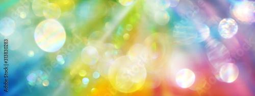 Fotografie, Tablou Banner strahlenden Lichts in den Farben des Regenbogens