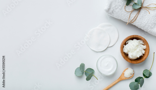 Eco natural coconut butter and moisturising cream preparing for home spa