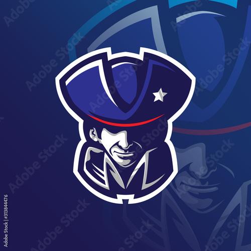 Fotografia patriot mascot logo design vector with modern illustration concept style for badge, emblem and tshirt printing