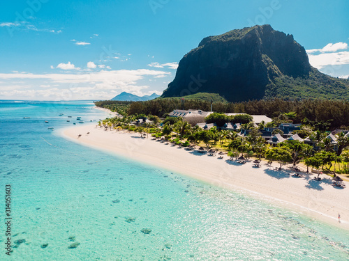 Wallpaper Mural Luxury beach with mountain in Mauritius
