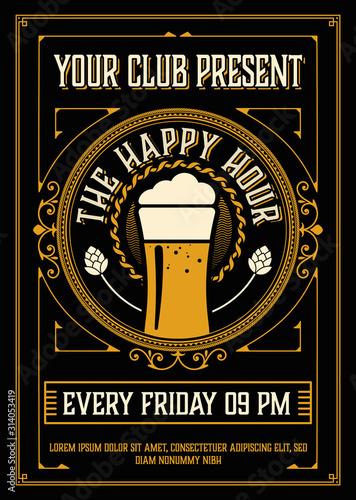 Vintage Happy Hour Poster Layout Fototapet