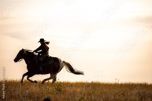 Canvas Print cowgirl galloping silhouette