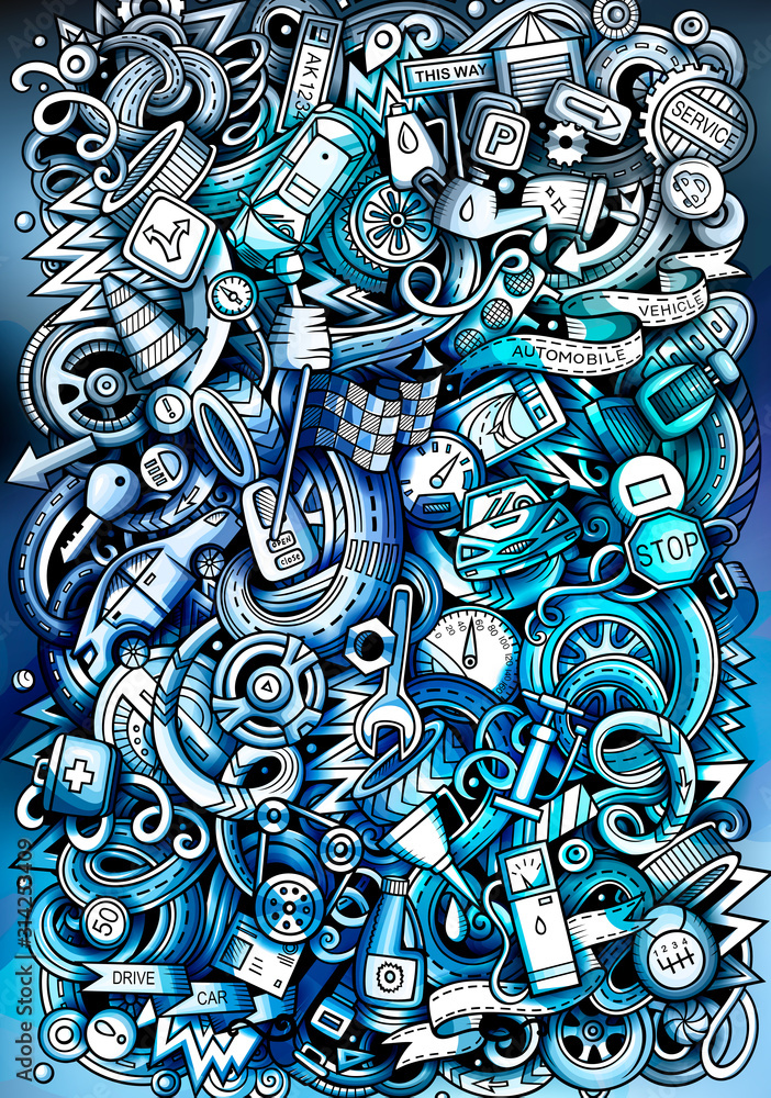 Auto hand drawn doodle banner. Cartoon detailed flyer. <span>plik: #314253409   autor: balabolka</span>