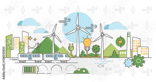 Valokuva Wind energy vector illustration