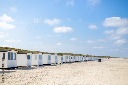 Fototapeta White Beach Cabins at Lokken Beach