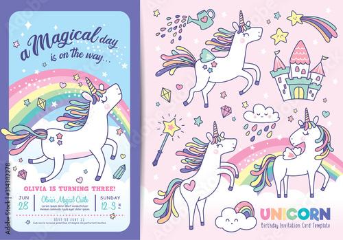 Obraz na płótnie Birthday party invitation card template with cute little unicorns, rainbow and m