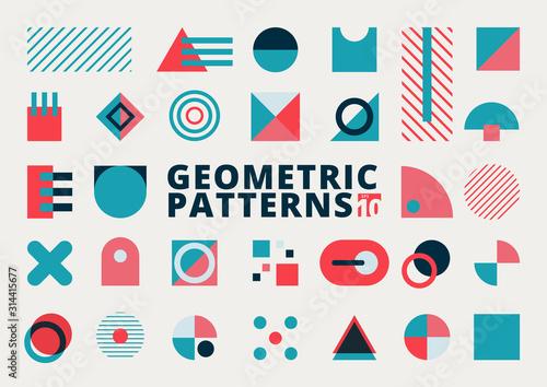 Fototapeta Set of geometric shapes flat design blue and pink color on white background