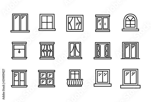 Set of window related vector line icons.