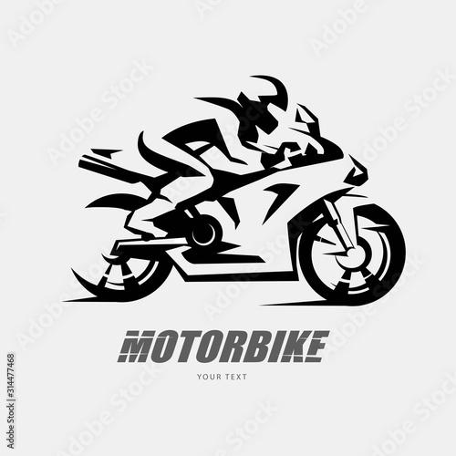 Fotografia Speed bike racer on the sport motorcycle, stylized vector symbol