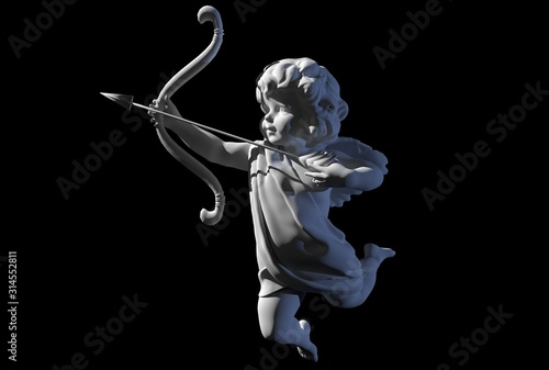 Canvas Print cupid angel for valentines day 3D render