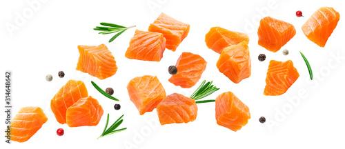 Fotografia Falling salmon slices isolated on white background