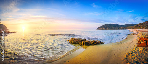 Fotografia, Obraz Sunset in Cala Violina bay beach in Maremma, Tuscany
