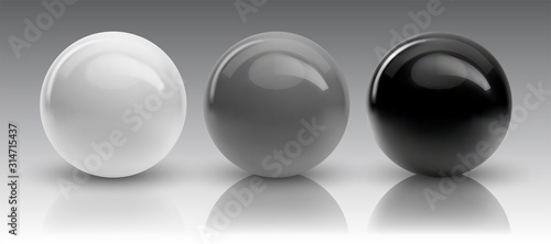 Fotografija Set of vector spheres and balls on a white background with a shadow