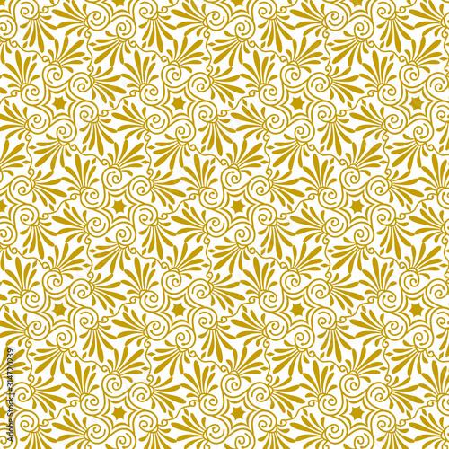 Fototapeta Vector seamless floral antique greek gold pattern 9