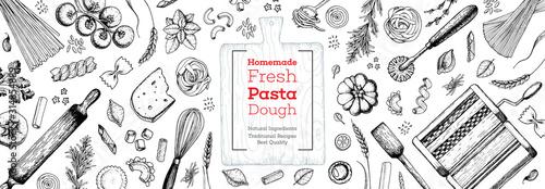 Fotografia Cooking italian pasta top view frame