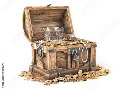Fotografie, Obraz Open treasure chest filled with golden coins, gold and jewelry isolated on white background