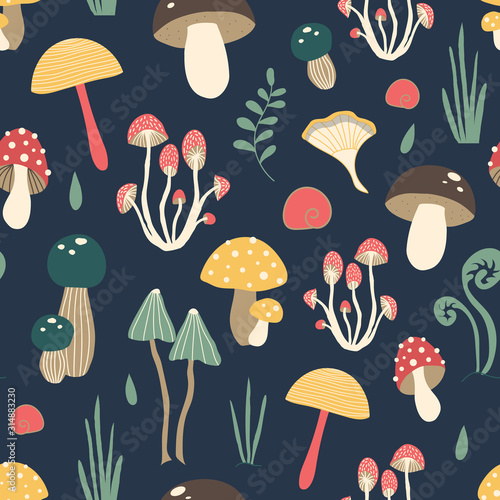Valokuva Cute vector pattern with mushrooms in the forest