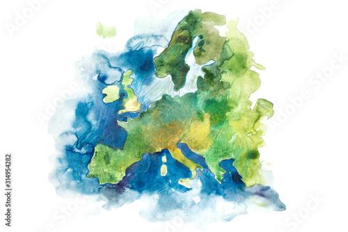 Photo Map of Europe, European Union. Watercolor illustration.