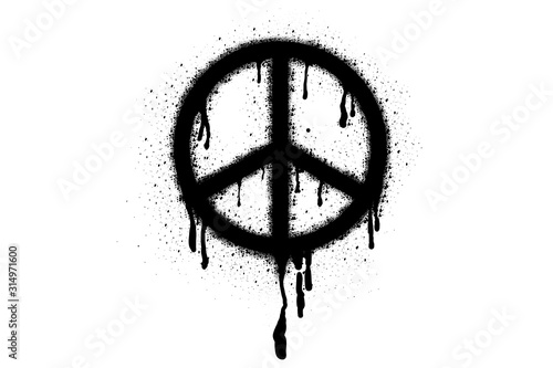 Fotografía Symbol of pacifism and peace Spray Paint Vector Elements isolated on White Background, Lines and Drips Black ink splatters, Ink blots set, Street style