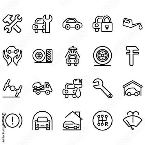 Fotografie, Tablou Simple set of automatic services Icons Related Lines Icons