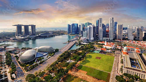 Vászonkép Singapore city panoranora at sunrise with Marina bay