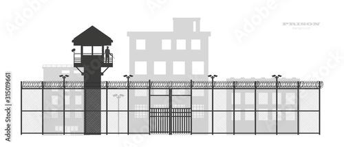 Fotografia Prison fence with building