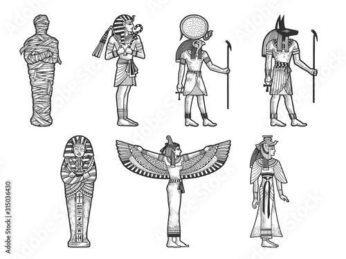 Canvas Print Ancient Egyptian set sketch engraving vector illustration