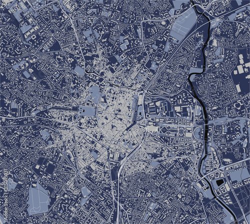 Photo map of the city of Montpellier, Herault, Occitanie, France