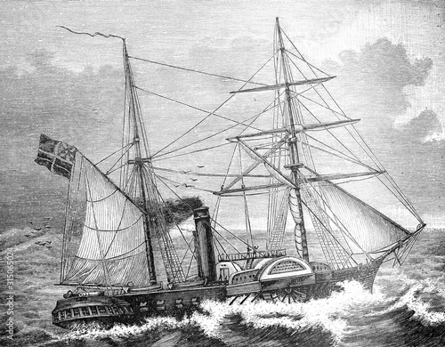 Fototapeta First Paddle steamer (Steam ship) from English fleet 1839 Antique Ilustration fr