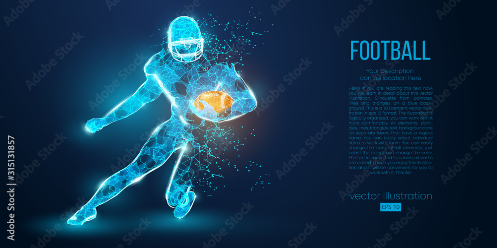 Abstract football player from particles, lines and triangles on blue background. Rugby. American footballer. All elements on a separate layers, color can be changed to any other in one click. Vector <span>plik: #315131857   autor: matrosovv</span>