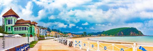 Seafront promenade in Ribadesella, Asturias, Spain.Scenic landscape of architecture and beach