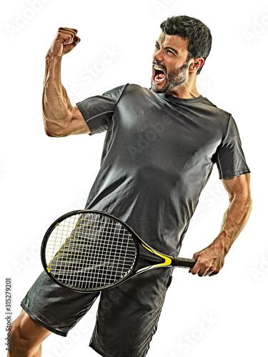 one caucasian mature tennis player man happy winner strong powerful in studio is Fototapeta