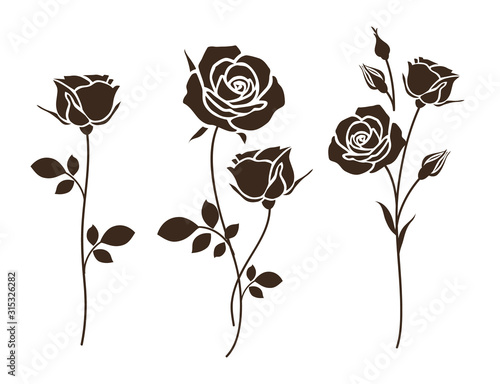 Set of decorative rose with leaves. Flower silhoutte. Vector illustration