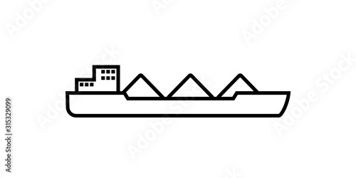 Leinwand Poster cargo ship with coal outline icon