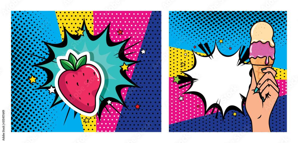 set of hand with ice cream and strawberry pop art style icon vector illustration design <span>plik: #315417649   autor: Gstudio</span>