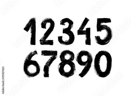 Fotografia Black grunge numbers vector collection