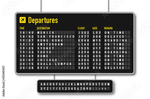 Leinwand Poster Departure and arrival board, airline scoreboard, mechanical split flap display