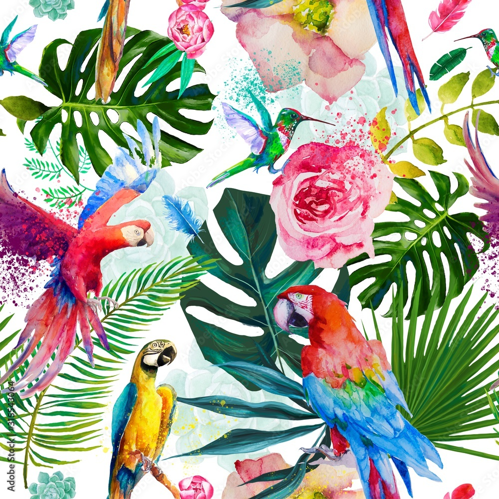 seamless exotic floral pattern with parrots