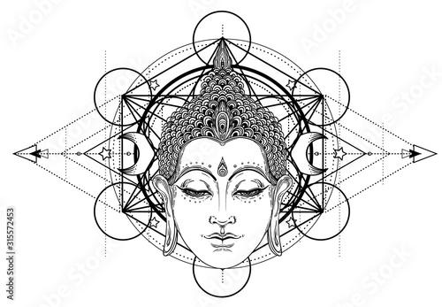 Fotografia Buddha face over ornate mandala round pattern