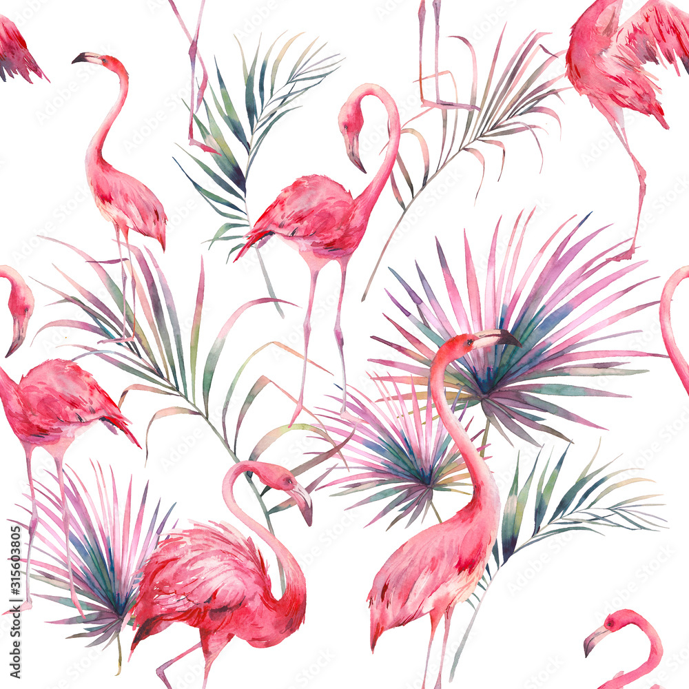 Watercolor flamingo and summer floral texture. Hand drawn seamless pattern with exotic leaves and branches on white background. Beach wallpaper design <span>plik: #315603805 | autor: ldinka</span>