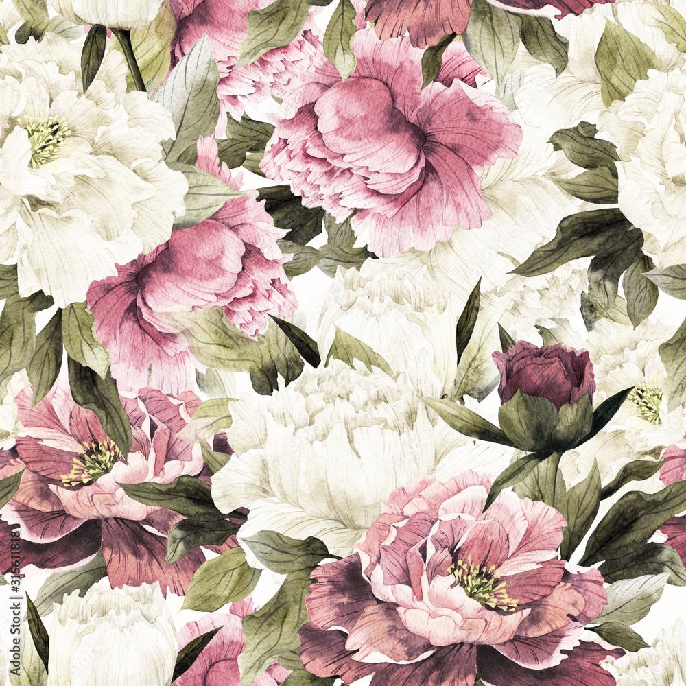 Fototapeta kwiaty w stylu retro pąki piwoni