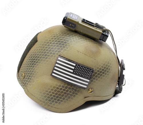 Fotografie, Tablou Camouflage military helmet isolated on white background