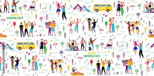 Slika na platnu Seamless pattern for the music summer festival