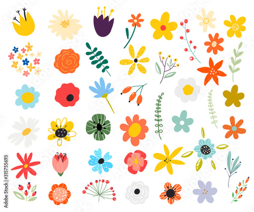 Set of spring colorful flowers. Set of floral branch. Isolated on white for greeting cards, Easter, thanksgiving. Spring set, hand drawn elements.