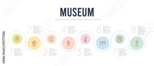 Canvastavla museum concept infographic design template