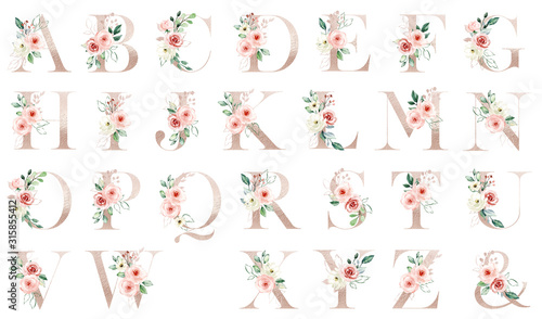 Letters set, gold floral alphabet with watercolor flowers peach roses and leaf. Monogram initials perfectly for wedding invitation, greeting card, logo, poster. Holiday decoration hand painting.