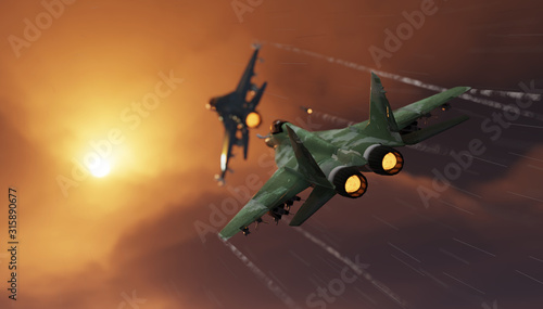 Photo Mig-29 russian jet fighter and american f-16 jet in dogfight scene 3d render