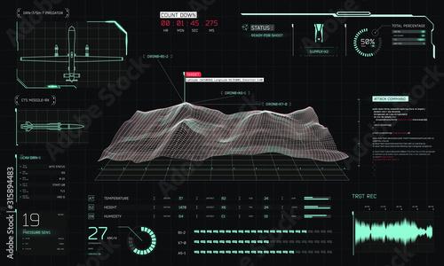 Canvas Print Control center 3D terrain drone surveillance, game/screen/movie interface