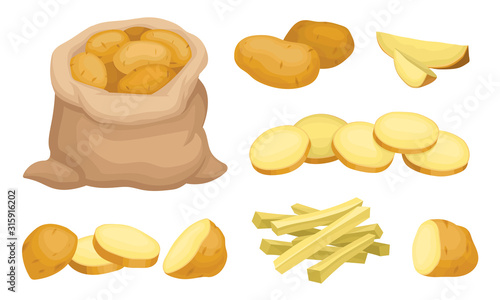 Fotografia Raw Whole and Sliced Potatoes Close up Isolated on White Background Vector Set