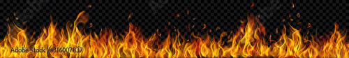 Fotografiet Banner of translucent fire flames and sparks with horizontal repetition on transparent background